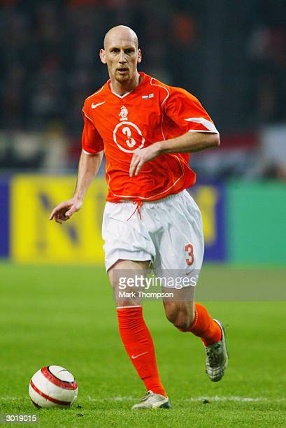 Jaap Stam of Holland brings the ball out of defence during the International Friendly match between Holland and the USA held on February 18 2004 at...