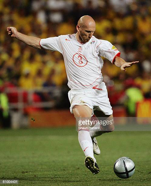 Jaap Stam of Holland in action during the UEFA Euro 2004, Quarter Final match between Sweden and Holland at the Algarve Stadium on June 26, 2004 in...