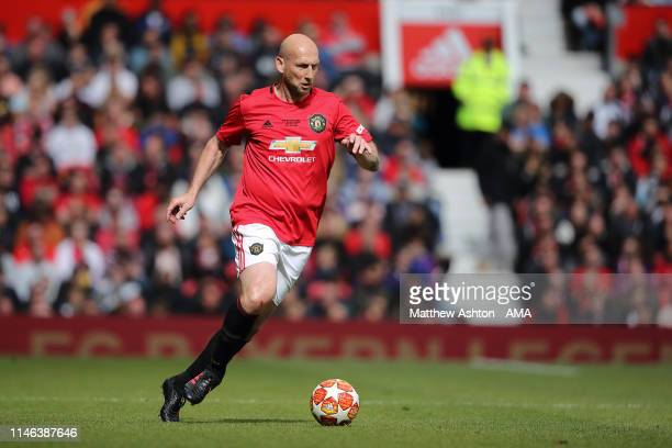 Jaap Stam of Manchester United '99 Legends during the Manchester United '99 Legends v FC Bayern Legends match at Old Trafford on May 26 2019 in...