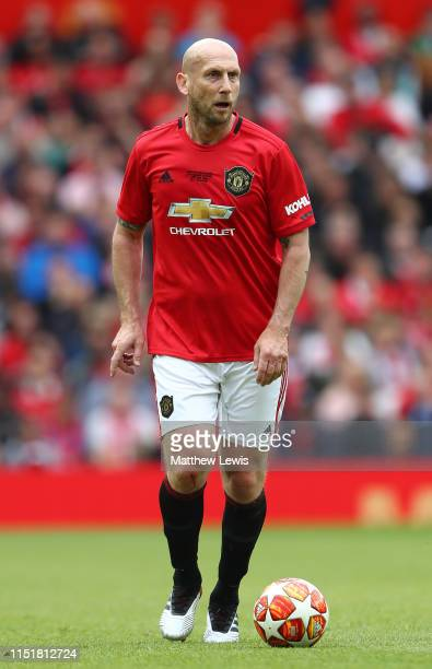 Jaap Stam of Manchester United '99 Legends in action during the Manchester United '99 Legends and FC Bayern Legends match at Old Trafford on May 26...