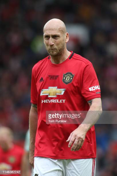 Jaap Stam of Manchester United '99 Legends looks on during the 20 Years Treble Reunion match between Manchester United '99 Legends and FC Bayern...