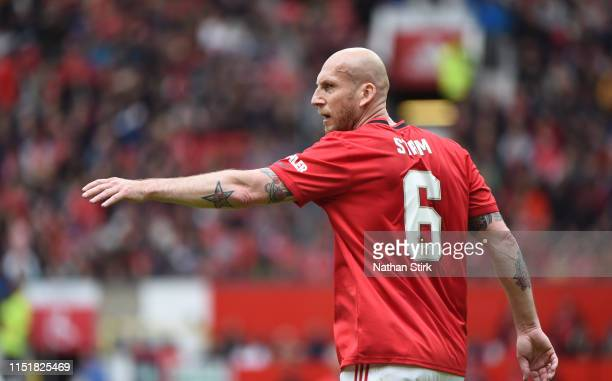 Jaap Stam of Manchester United looks on during the Manchester United '99 Legends v FC Bayern Legends at Old Trafford on May 26 2019 in Manchester...