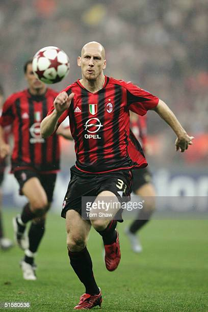 Jaap Stam of Milan in action during the UEFA Champions League Group F match between AC Milan and Barcelona in the Stadio San Siro on October 20 2004...