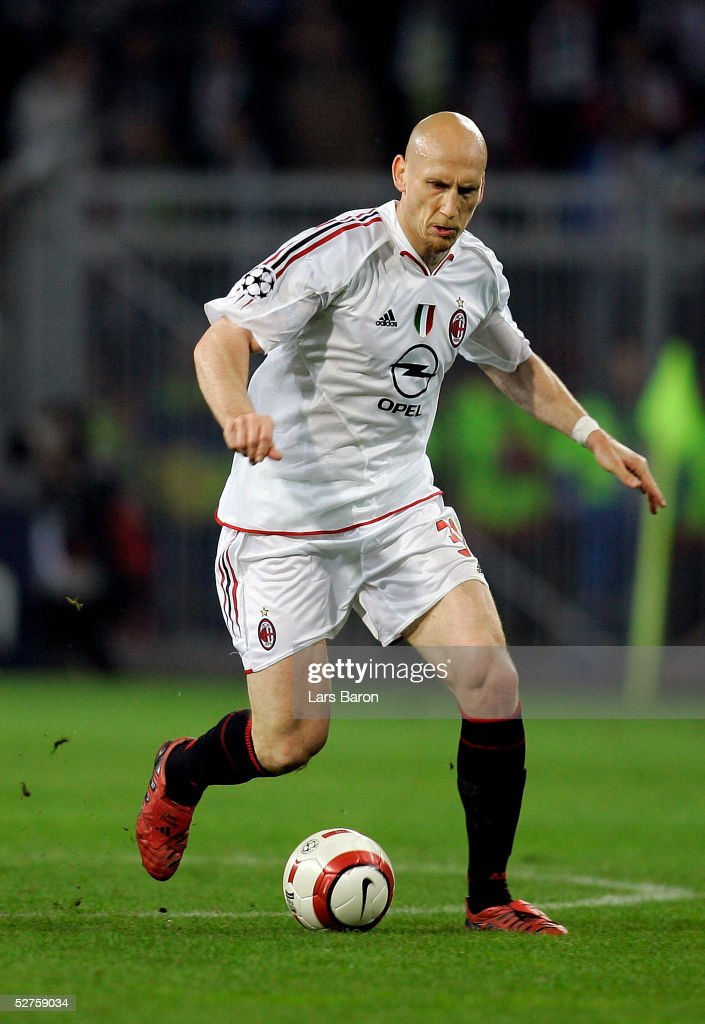 Jaap Stam of Milan runs with the ball during the Champions League semi final second Leg match between PSV Eindhoven and AC Mailand at the Philips Stadium on May 4, 2005 in Eindhoven, Netherlands. Despite losing to PSV Eindhoven 3-1, AC Milan advances to the final on the away goals rule.