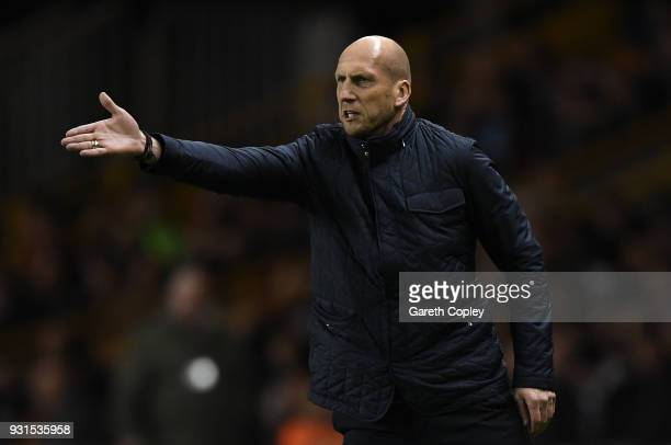 Jaap Stam of Reading gives out instructions to his players during the Sky Bet Championship match between Wolverhampton Wanderers and Reading at...