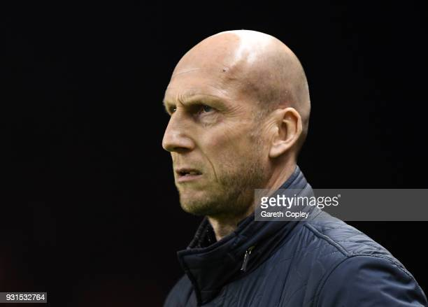 Jaap Stam of Reading looks on prior to the Sky Bet Championship match between Wolverhampton Wanderers and Reading at Molineux on March 13 2018 in...