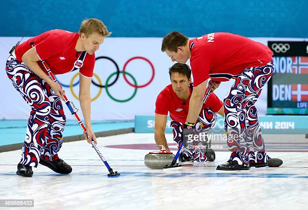 Jaavard Vad Petersson Thomas Ulsrud and Christoffer Svae of Norway competes against Denmark during the Men's Curling Round Robin on day ten of the...