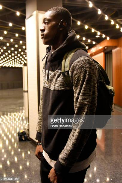 Jabari Bird of the Boston Celtics arrives to the arena prior to Game Five of Round One of the 2018 NBA Playoffs against the Milwaukee Bucks on April...