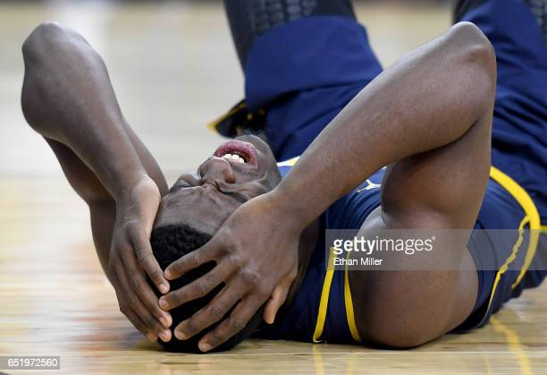 Jabari Bird of the California Golden Bears lies on the floor after he hit his head on the court during a semifinal game of the Pac12 Basketball...