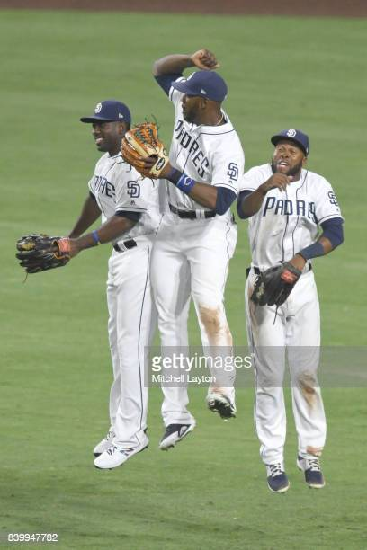 Jabari Blash Manual Margot and Jose Pirela celebrate win after a baseball game against the Washington Nationals at Petco Park on August 19 2017 in...