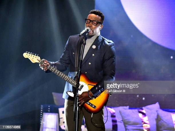 Jabari Johnson performs during the 34th annual Stellar Gospel Music Awards at the Orleans Arena on March 29 2019 in Las Vegas Nevada