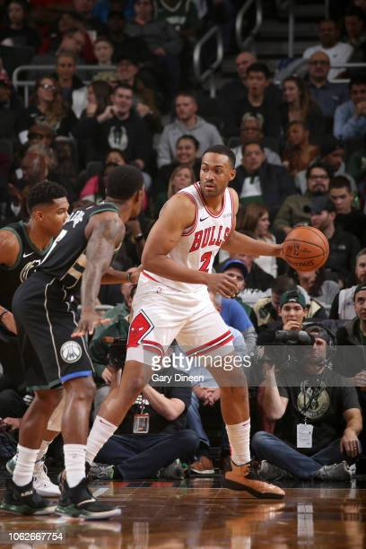 Jabari Parker of the Chicago Bulls handles the ball against the Milwaukee Bucks on November 16 2018 at Fiserv Forum in Milwaukee Wisconsin NOTE TO...