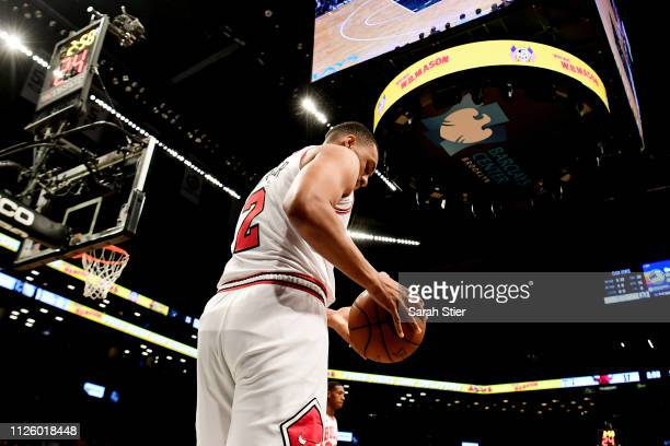 Jabari Parker of the Chicago Bulls prepares to pass during the second quarter of the game against the Brooklyn Nets at Barclays Center on January 29...