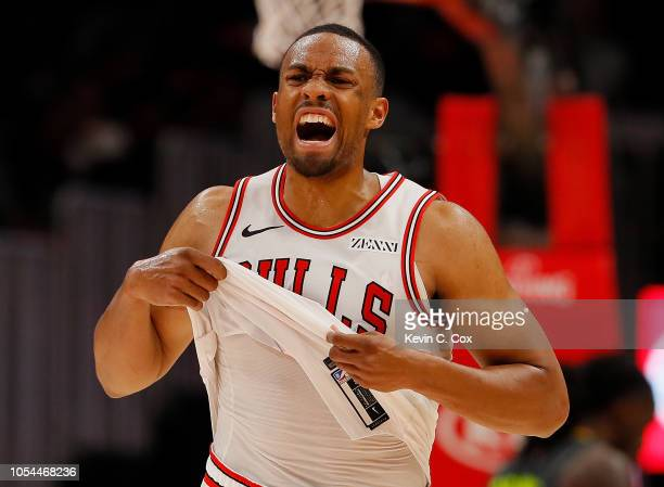 Jabari Parker of the Chicago Bulls reacts at the end of the first half against the Atlanta Hawks at State Farm Arena on October 27 2018 in Atlanta...