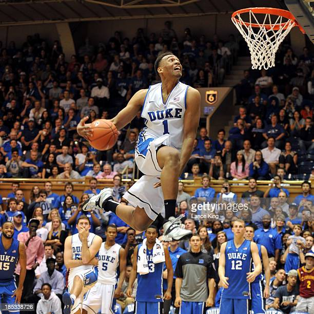 Jabari Parker of the Duke Blue Devils competes in a dunk contest during Countdown to Craziness at Cameron Indoor Stadium on October 18 2013 in Durham...