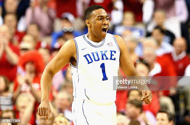 Jabari Parker of the Duke Blue Devils reacts against the North Carolina State Wolfpack during the semifinals of the 2014 Men's ACC Basketball...