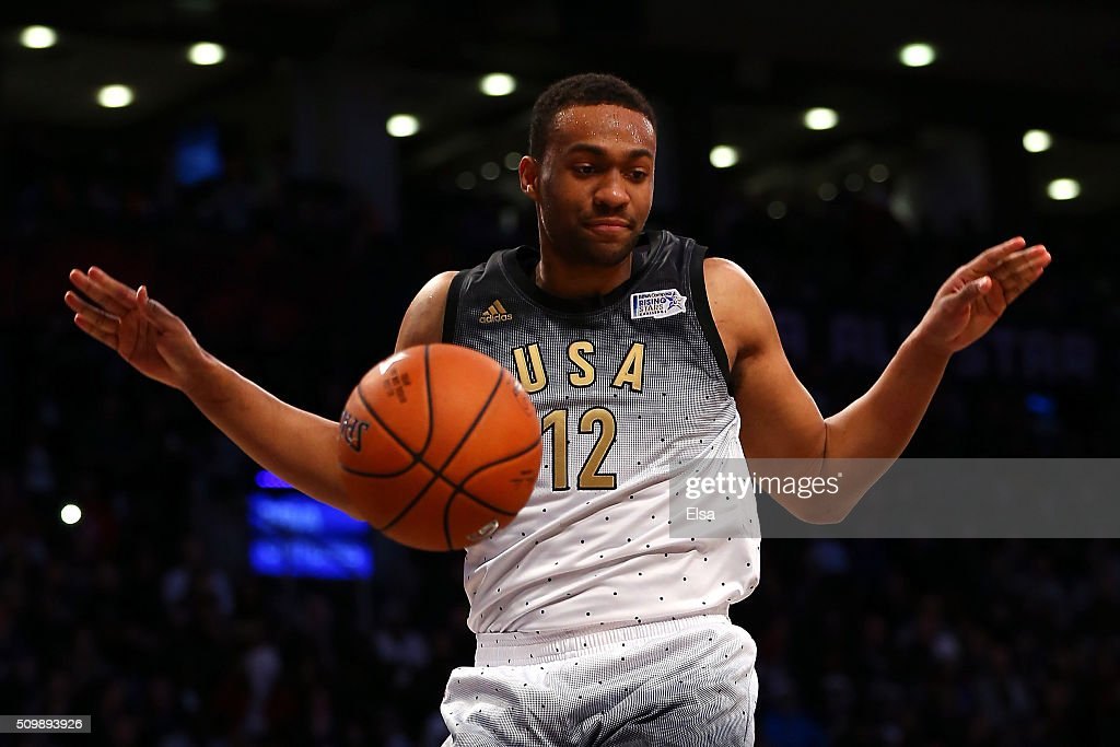 Jabari Parker #12 of the Milwaukee Bucks and the United States team dunks in the second half against the World team during the BBVA Compass Rising Stars Challenge 2016 at Air Canada Centre on February 12, 2016 in Toronto, Canada.