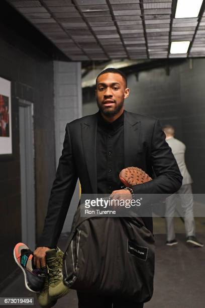 Jabari Parker of the Milwaukee Bucks arrives before Game Five of the Eastern Conference Quarterfinals during the 2017 NBA Playoffs on April 24 2017...
