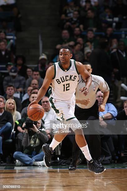 Jabari Parker of the Milwaukee Bucks dribbles the ball against the Boston Celtics on February 9 2016 at the BMO Harris Bradley Center in Milwaukee...