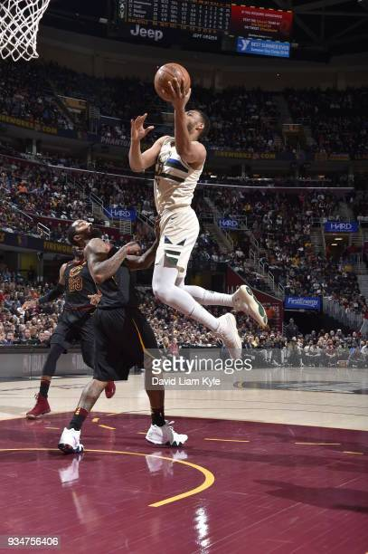 Jabari Parker of the Milwaukee Bucks drives to the basket against the Cleveland Cavaliers on March 19 2018 at Quicken Loans Arena in Cleveland Ohio...