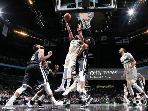 Jabari Parker of the Milwaukee Bucks dunks against the Brooklyn Nets on February 4 2018 at Barclays Center in Brooklyn New York NOTE TO USER User...