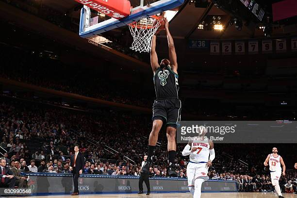 Jabari Parker of the Milwaukee Bucks dunls against he New York Knicks on January 4 2017 at Madison Square Garden in New York NY NOTE TO USER User...
