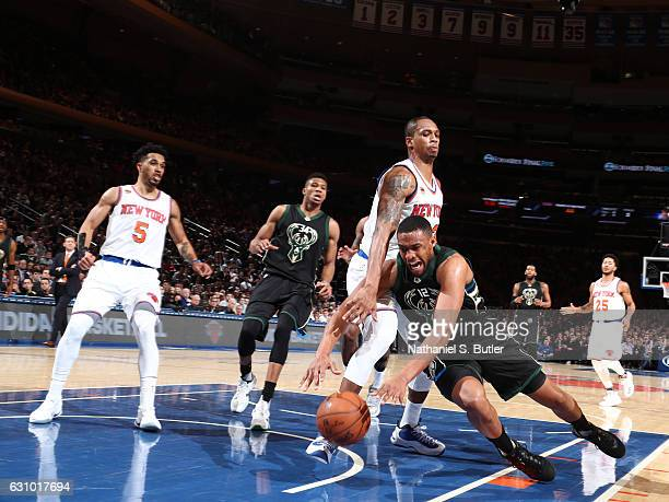 Jabari Parker of the Milwaukee Bucks goes after the ball against the New York Knicks on January 4 2017 at Madison Square Garden in New York NY NOTE...