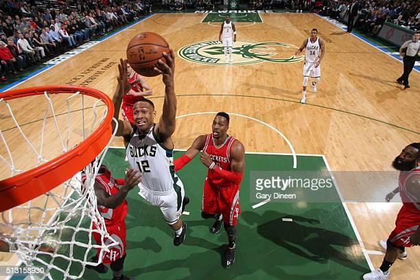 Jabari Parker of the Milwaukee Bucks goes to the basket against the Houston Rockets on February 29 2016 at the BMO Harris Bradley Center in Milwaukee...