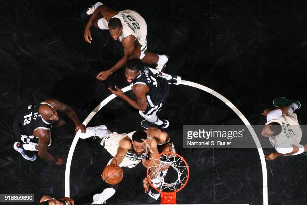 Jabari Parker of the Milwaukee Bucks goes to the basket against the Brooklyn Nets on February 4 2018 at Barclays Center in Brooklyn New York NOTE TO...