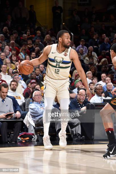 Jabari Parker of the Milwaukee Bucks handles the ball against the Cleveland Cavaliers on March 19 2018 at Quicken Loans Arena in Cleveland Ohio NOTE...