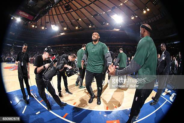 Jabari Parker of the Milwaukee Bucks is introduced before the game against the New York Knicks on January 4 2017 at Madison Square Garden in New York...