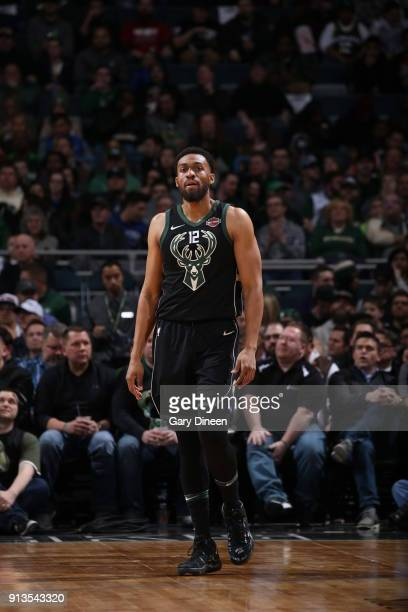 Jabari Parker of the Milwaukee Bucks looks on during the game against the New York Knicks on February 2 2018 at the BMO Harris Bradley Center in...