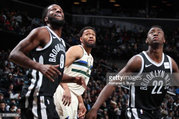 Jabari Parker of the Milwaukee Bucks looks on during the game against the Brooklyn Nets on February 4 2018 at Barclays Center in Brooklyn New York...