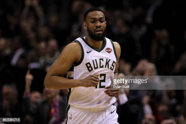 Jabari Parker of the Milwaukee Bucks runs across the court in the first quarter against the Boston Celtics during Game Six of Round One of the 2018...