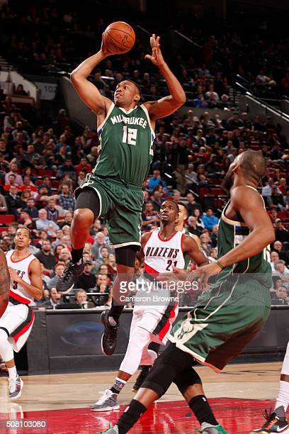 Jabari Parker of the Milwaukee Bucks shoots against the Portland Trail Blazers during the game on February 2 2016 at Moda Center in PortlandOregon...