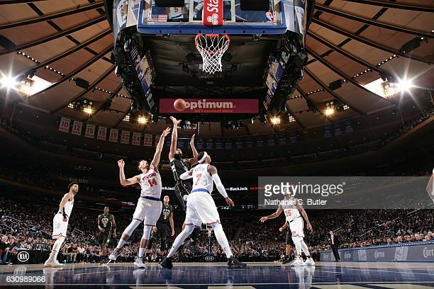 Jabari Parker of the Milwaukee Bucks shoots the ball against the New York Knicks on January 4 2017 at Madison Square Garden in New York NY NOTE TO...