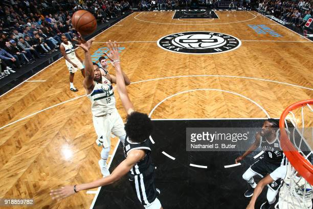 Jabari Parker of the Milwaukee Bucks shoots the ball against the Brooklyn Nets on February 4 2018 at Barclays Center in Brooklyn New York NOTE TO...