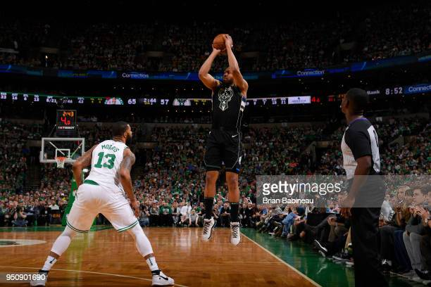 Jabari Parker of the Milwaukee Bucks shoots the ball against the Boston Celtics Game Five of Round One of the 2018 NBA Playoffs on April 24 2018 at...