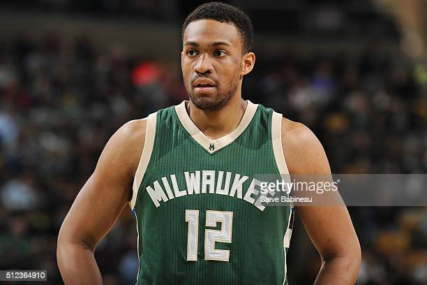 Jabari Parker of the Milwaukee Bucks stands on the court during the game against the Boston Celtics on February 25 2016 at the TD Garden in Boston...