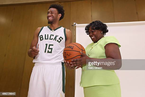 Jabari Parker of the Milwaukee Bucks visits his former school with his former grade school teacher Clintonia McNeal as part of the TeachersCount...