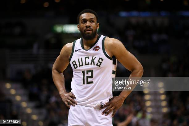 Jabari Parker of the Milwaukee Bucks walks across the court in the fourth quarter against the Brooklyn Nets at the Bradley Center on April 5 2018 in...