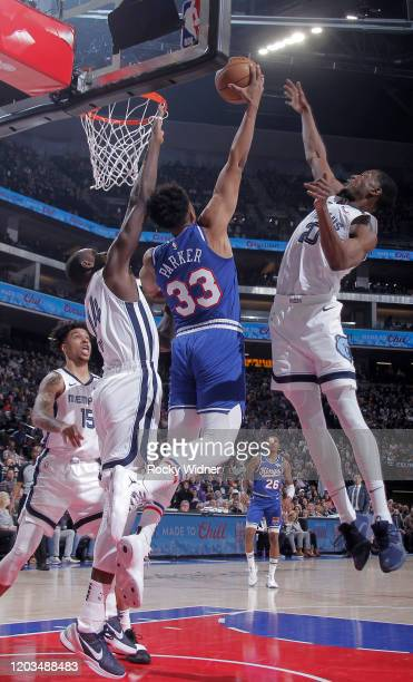 Jabari Parker of the Sacramento Kings goes up for the shot against Gorgui Dieng and Jaren Jackson Jr #13 of the Memphis Grizzlies on February 20 2020...
