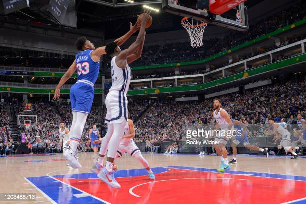 Jabari Parker of the Sacramento Kings rebounds against Jaren Jackson Jr #13 of the Memphis Grizzlies on February 20 2020 at Golden 1 Center in...