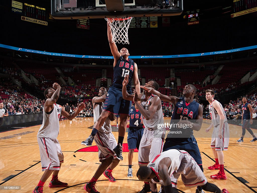 Jabari Parker #12 of the USA Junior Select Team shoots a layup against the World Select Team during the 2013 Nike Hoop Summit game on April 20, 2013 at the Rose Garden Arena in Portland, Oregon.