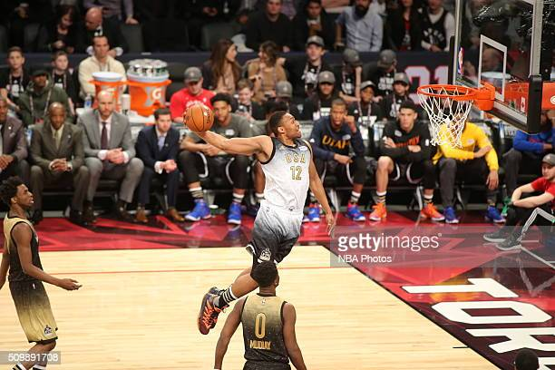 Jabari Parker of the USA Team goes to the basket against the World Team during the BBVA Compass Rising Stars Challenge as part of 2016 NBA AllStar...