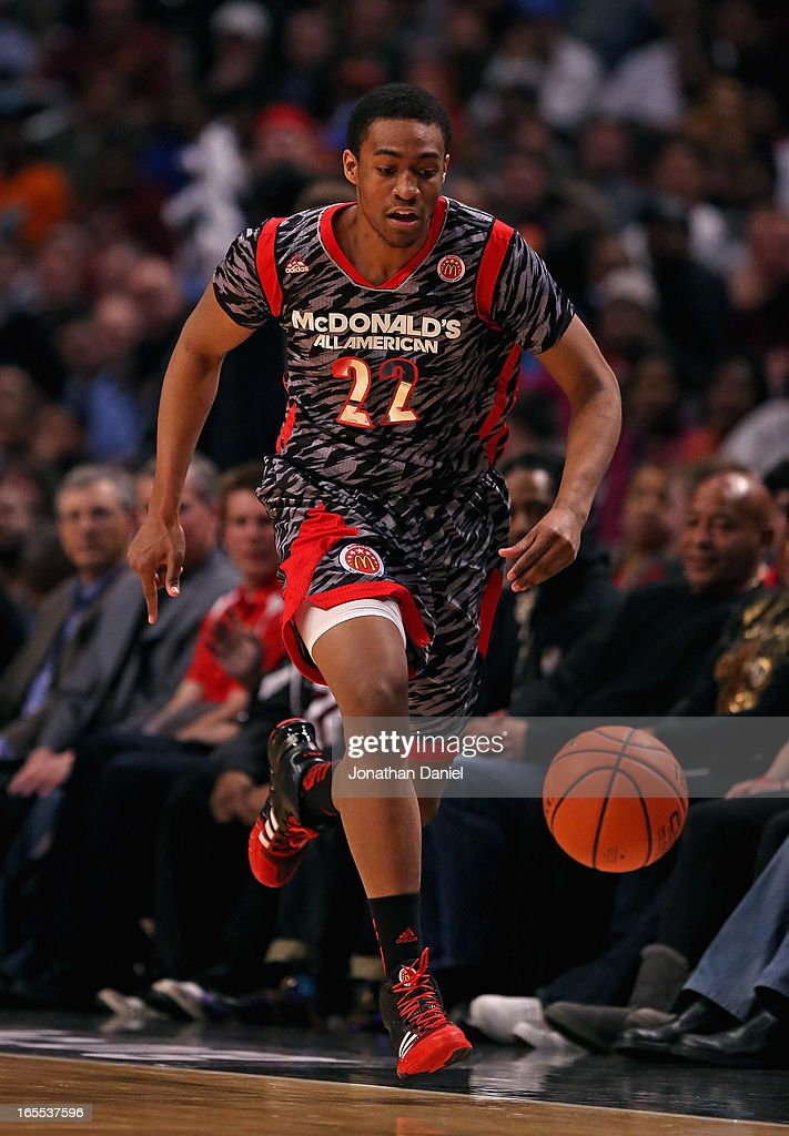 Jabari Parker #22 of the West chases down a loose ball during the 2013 McDonald's All American game at United Center on April 3, 2013 in Chicago, Illinois.