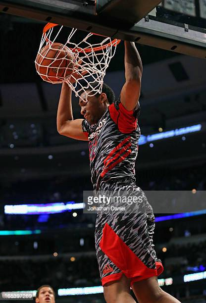Jabari Parker of the West dunks the ball against the East during the 2013 McDonald's All American game at United Center on April 3 2013 in Chicago...