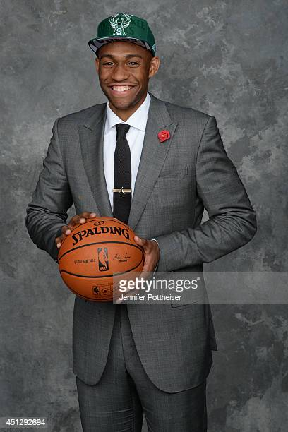 Jabari Parker the second pick overall by the Milwaukee Bucks poses for a portrait during the 2014 NBA Draft at the Barclays Center on June 26 2014 in...