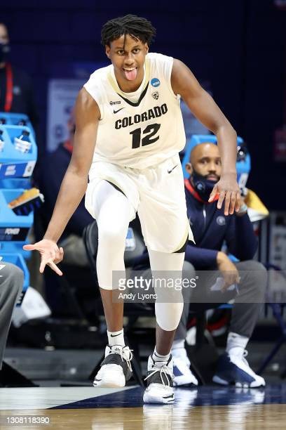 Jabari Walker of the Colorado Buffaloes celebrates a three point basket against the Georgetown Hoyas in the first round game of the 2021 NCAA Men's...