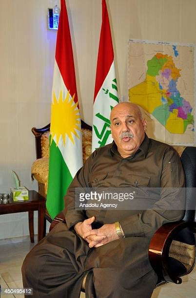 Jabbar Yaver deputy Peshmerga Minister of Kurdish Regional Government speaks to the media about the recent events in his country on June 12 2014 in...